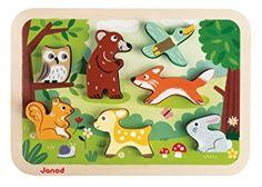 Janod - Chunky, Puzzle para encajar animales del bosque (J07023): Amazon.es: Juguetes y juegos