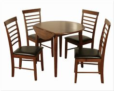 Hanover Dark Round Drop Leaf Dining Set with 4 Chairs - Oak Dining Table, Dining Furniture, Dining Chairs, Contemporary Dining Sets, Drop Leaf Table, Nook, Modern, Irish, Home Decor