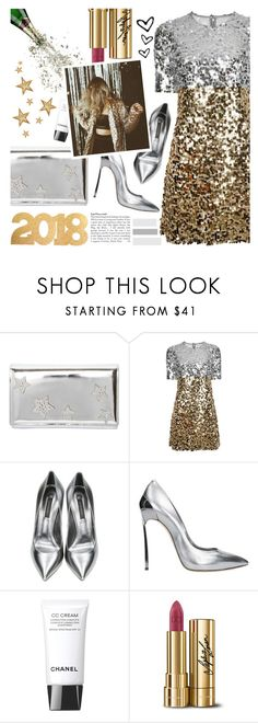 """Happy New Year 2018 -  365 new days. 365 new chances."" by perfectharry ❤ liked on Polyvore featuring Giuseppe Zanotti, Dolce&Gabbana, Casadei and Chanel"