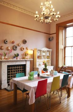 wine storage: Laura's Bright and Beautiful Victorian Duplex in Glasgow Glasgow Apartment, Unused Fireplace, Fireplace Ideas, Dining Room Fireplace, Farmhouse Fireplace, Dining Area, Kitchen Dining, Kitchen Decor, Kitchen Spotlights