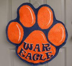 War Eagle Auburn Tiger Paw burlap and wall hanger