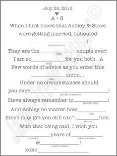 we did these at our wedding for the kissing game, Guests filled these out at their table then came up to the mic to read the to everyone... then we kissed