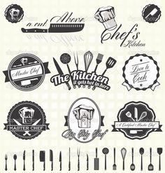 Baixar - Conjunto de vetores: rótulos mestre cozinheiro retro e ícones — Ilustração de Stock #27138147