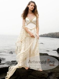 V Neck Satin Sheath Wedding Dress with Lace Overlay Skirt and Sleeves