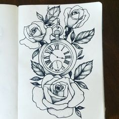 Pocket watch design for a client by - Tattoo Designs Men Hai Tattoos, Rose Tattoos, Flower Tattoos, Body Art Tattoos, Sleeve Tattoos, Clock Tattoos, Tatoos, Flower Design Tattoos, Thigh Tattoos