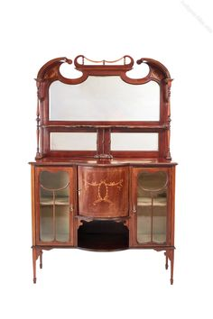 Edwardian Inlaid Mahogany Antique Display Cabinet - Antiques Atlas Antique Furniture, Home Furniture, Antique Display Cabinets, Glass Display Shelves, Beveled Edge Mirror, Shelf Supports, Four Square, Antiques, Glazed Doors