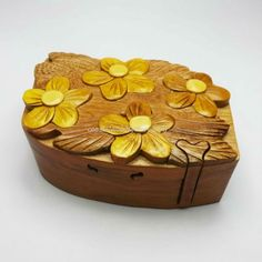 Handmade Art Intarsia Wooden Puzzle Box - Plumeria