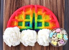 Rainbow Waffles- these look fun for Saint Patrick's Day breakfast, and I'm sure these could be done with homemade waffle batter as well!