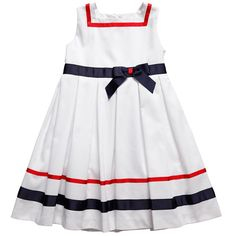 Girls Cotton Pique White Sailor Dress   Childrensalon