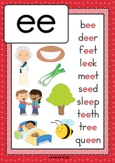 Digraph / Vowel Team EE: Phonics Word Work {Multiple Phonograms} by Lavinia Pop. Phonics Chart, Phonics Flashcards, Phonics Blends, Flashcards For Kids, Alphabet Phonics, Phonics Words, Phonics Worksheets, Phonics Reading, Teaching Phonics