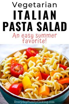 Simple pasta salad with Italian dressing made with rotini pasta. This easy homemade summer recipe is filled with veggies and cheese. It contains absolutely no meat and is perfect for BBQs and light weeknight dinners. Summer Pasta Salad, Easy Pasta Salad, Pasta Salad Italian, Pasta Salad Recipes, Planning Menu, Honey Garlic Pork Chops, Spiral Pasta, Vegetarian Italian, Veggie Pasta