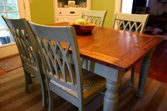 Our Lovely Bungalow: A Blue Farmhouse Dining Table