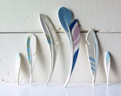 Feathers. Six Ceramic Feathers. Hand-Built. All by AcmeArtCompany
