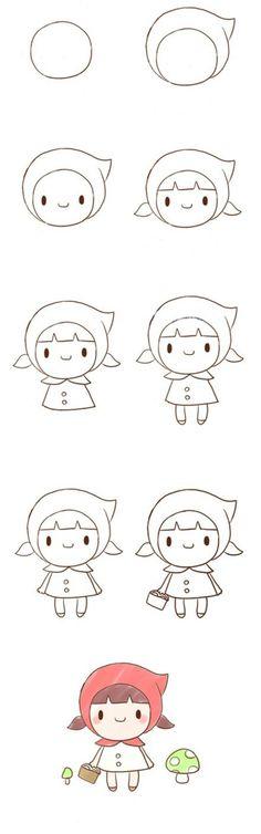 简笔画 人物 小红帽 女孩 步骤