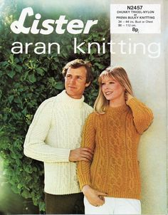 dffe3c8f8b vintage womens mens aran sweater knitting pattern pdf download ladies chunky  cable jumper polo   crew 34-44