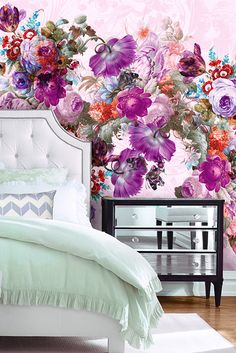 Shop all the most amazing wall murals right here. View large mural wallpapers in many different designs. Bedroom Themes, Bedroom Decor, Wall Decor, Bedroom Ideas, Teen Bedroom, Bedrooms, Cool Walls, My New Room, Wall Design