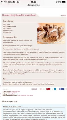 Gluten og Melkefri Sjokolademousse Kake - prøv med sukrin/tagatesse i stedet for sukker