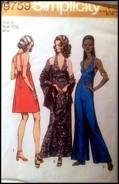 """Simplicity 9759   Misses' Dress in Two Lengths, Pantdress & Shawl  Bust 32.5""""  UNCUT"""