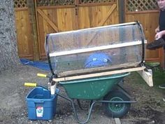 Compost sifter will tumble out larger pieces, leaving wheelbarrow filled with rich ready compost. Also removes rocks from dirt.