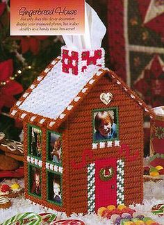 Gingerbread House Tissue Cover Christmas Plastic Canvas Pattern Only from A Book Plastic Canvas Books, Plastic Canvas Ornaments, Plastic Canvas Tissue Boxes, Plastic Canvas Christmas, Plastic Canvas Crafts, Plastic Canvas Patterns, Christmas Crafts For Gifts, Christmas Items, Tissue Box Crafts