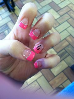 Pink fishing hook nail designs with glitter!