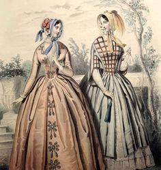LE FOLLET 1845 Hand-Colored Fashion Plate #1235 TOWN DRESSES & HATS Orig.Print | eBay