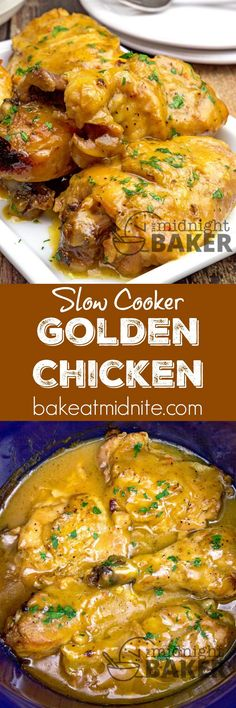 Golden brown chicken with a golden gravy. Your slow cooker does all the work. On… Golden brown chicken with a golden gravy. Your slow cooker does all the work. Only 4 main ingredients Crockpot Dishes, Crock Pot Slow Cooker, Crock Pot Cooking, Slow Cooker Chicken, Slow Cooker Recipes, Crockpot Recipes, Cooking Recipes, Slow Cook Chicken Recipes, Crock Pots