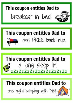 Printable Father's Day Poems | Father's Day coupon booklet