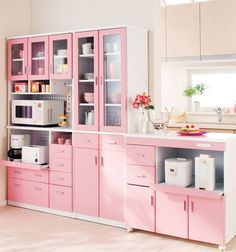 All Pink Kitchen what a whimsical,pretty lavender vintage kitchen. | kitchen