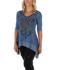 Denim Blue Floral Stud-Embellished Sidetail Tunic - Plus Too