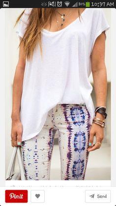 jeans snake print pants pastel pink purple blue tye dye white bleached jeans t-shirt