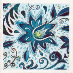 #worldwatercolormonth July 19 Blue PatternKaren Smith