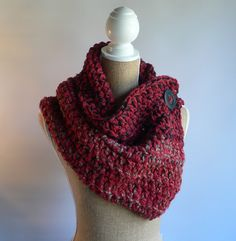 Red Crochet Cowl, Red Scarf, Crochet Cowl, Winter Cowl, Button Scarf, Crochet Shrug, Womens Accessories, Winter Scarf, Crochet Wrap by CTDESIGNSBESPOKEBAGS on Etsy