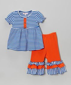 Blue Stripe Tunic & Orange Capri Pants - Infant, Toddler & Girls by Whimsical by Molly Pop Inc. #zulily #zulilyfinds