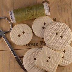 Handmade ivory ceramic buttons with sweater knit texture