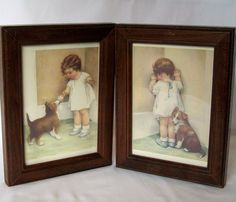 Vintage Framed Cards Baby with Dog Prints Pair