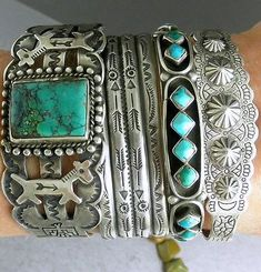 Big-Wide-Fred-Harvey-Dogs-Horses-Thunderbirds-Turquoise-Navajo-Cuff-Bracelet: