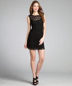Nicole Miller black cotton paisley eyelet sleeveless sheath dress