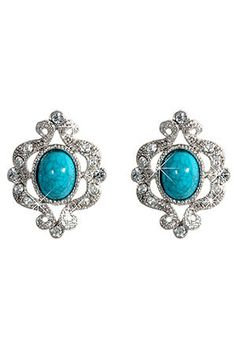 X Crystal Antique Style Earrings In Silver & Turquoise