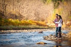 Love this fly fishing themed engagement shoot in Ludlow, Vermont. Those fall colors aren't bad either! Check out more engagement photo ideas at http://www.paulreynoldsphotography.com/gallery/engagements/
