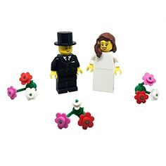 LEGO Bride and Groom Minifigures with Flowers Wedding Cake - The Wedding Shop Wedding Cake Toppers, Wedding Cakes, Wedding Cake Accessories, Thing 1, Bride Groom, Wedding Flowers, Lego, Brown Hair, Bricks