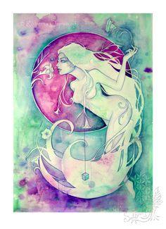Virgo Zodiac Goddess / Earth Elemental / Sacred Geometry / Star Sign / Astrology ~ Art Print by Roberta Orpwood by SoulBirdArt on Etsy