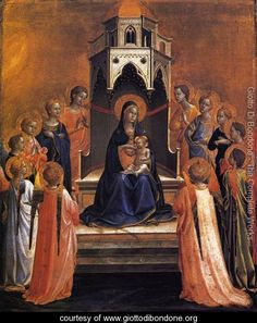 Virgin and Child Enthroned with Twelve Angels - Giotto Di Bondone - www.giottodibondone.org