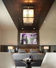 ♥ Deckenlampe Design für Schlafzimmer-moderne Einrichtung-Deckenverkleidung Holz