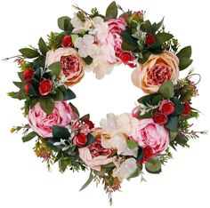 Floral Artificial Peony Wreath with Green Leaves Handmade for Front Door Farmhouse Welcome Door Wall Home Decor Office Pink Fall Home Decor, Autumn Home, Fake Flowers, Silk Flowers, Silk Flower Wreaths, Floral Wreaths, Wreaths For Front Door, Door Wreaths, Artificial Peonies