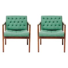 Vintage Green Wool Danish Arm Chairs Pair
