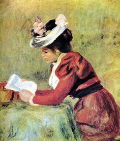 """Pierre Auguste Renoir """"Femme Lisant"""" or Woman Reading Art Works, Renoir Paintings, Woman Reading, French Art, Painting, Female Art, Reading Art, Renoir Art, Art"""
