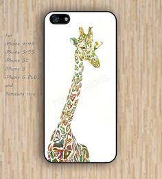 iPhone 4/4s 5s 6 case giraffe watercolor dream catcher colorful phone case iphone case,ipod case,samsung galaxy case available plastic rubber case waterproof B633