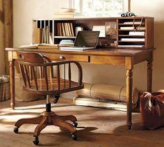 Home Office Design, House Design, Printer Desk, Writing Desk With Drawers, Vintage Writing Desk, Vintage Desks, Vintage Desk Chair, Writing Table, Vintage Office