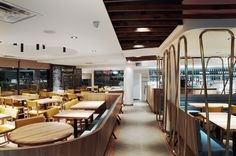 Interior design by jean de lessard. designers créatifs Conference Room, Designers, Restaurant, Interior Design, Table, Furniture, Home Decor, Design Interiors, Homemade Home Decor
